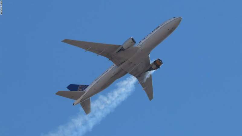 a fighter jet flying through a clear blue sky: Hayden A. Smith, 17, is a plane spotter and photographer and took this photo of UAL Flight 328 on Saturday, February 20, as it flew overhead in Aurora, Colorado.
