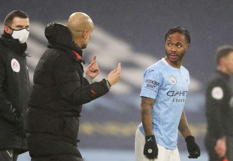 Raheem Sterling et al. standing around each other: Premier League - Manchester City v Brighton & Hove Albion