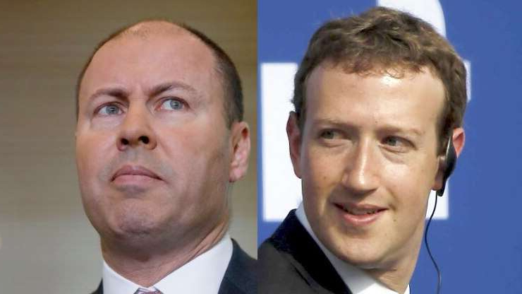 Mark Zuckerberg, Josh Frydenberg are posing for a picture: Who blinked first? Facebook founder Mark Zuckerberg and Australian Treasurer Josh Frydenberg. (Reuters/ABC News)