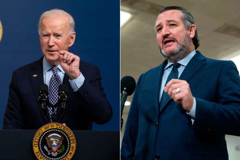 Ted Cruz, Joe Biden are posing for a picture: While the president visits storm-torn Texas, Sen. Ted Cruz will be at CPAC. ALEX EDELMAN/AFP via Getty Images Doug Mills-Pool/Getty Images