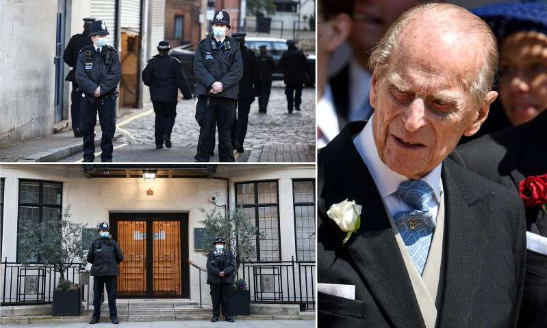 Prince Philip, Duke of Edinburgh wearing a suit and tie: MailOnline logo