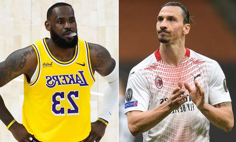 Zlatan Ibrahimovic, LeBron James are posing for a picture: MailOnline logo