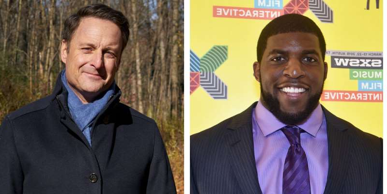 Emmanuel Acho, Chris Harrison are posing for a picture: Emmanuel Acho will replaced Chris Harrison during