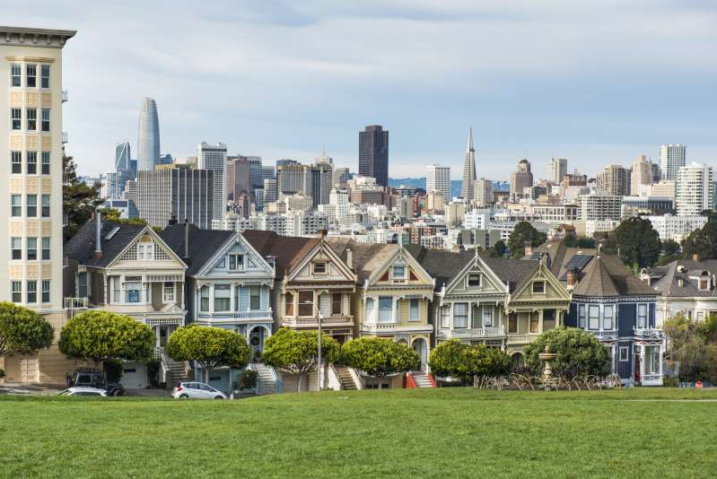 a large building with a grassy field: The Painted Ladies of San Francisco, California.