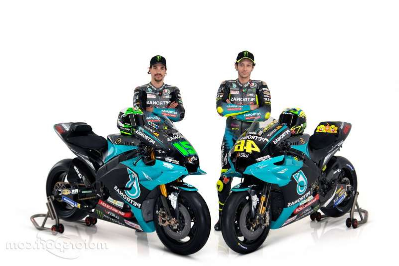 Valentino Rossi sitting on a motorcycle: Valentino Rossi, Petronas Yamaha SRT, Franco Morbidelli, Petronas Yamaha SRT