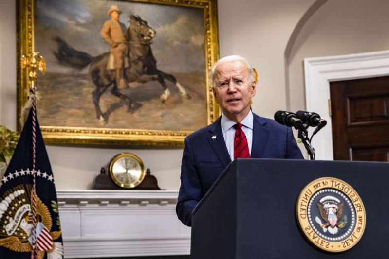 a statue of Joe Biden in a suit and tie: President Joe Biden addresses the nation about the new coronavirus relief package from the Rosevelt Room of The White House on February 27, 2021 in Washington, D.C. President Biden urged the Senate to quickly pass his $1.9 trillion coronavirus relief package after the House of Representatives approved the legislation.