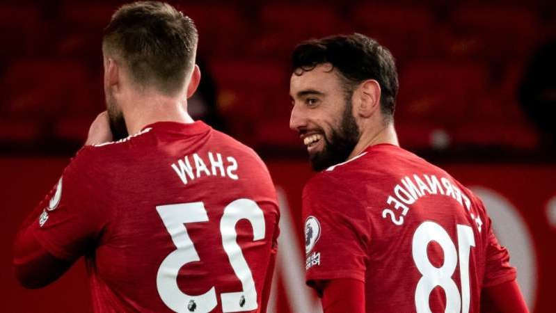 Manchester United's Bruno Fernandes (L) and Luke Shaw (R)