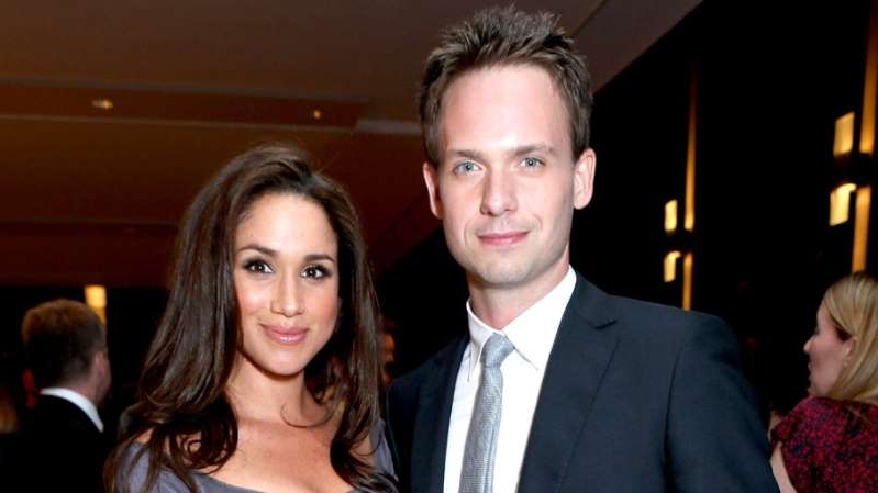 Patrick J. Adams, Meghan Markle posing for the camera