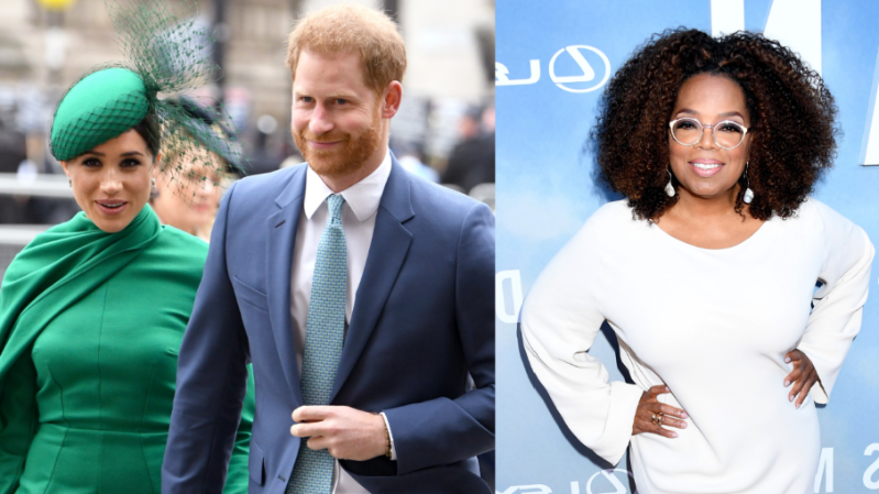 Oprah Winfrey, Prince Harry, Meghan Markle are posing for a picture
