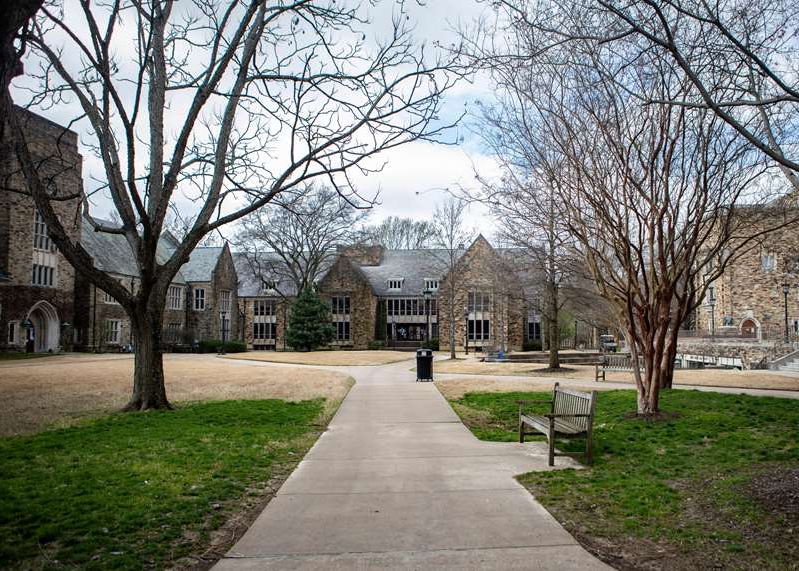 a tree in a park: Rhodes College is almost empty during spring break on Thursday, March 12, 2020. The college announced that it is asking students not to return to campus following spring break .