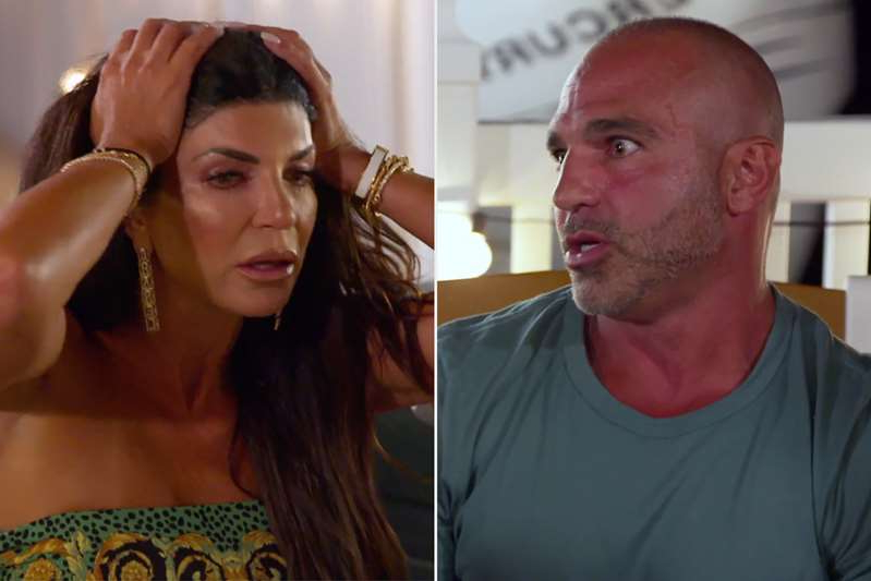 a man and a woman taking a selfie: Teresa Giudice and brother Joe Gorga go head-to-head in PEOPLE's exclusive sneak peek at The Real Housewives of New Jersey