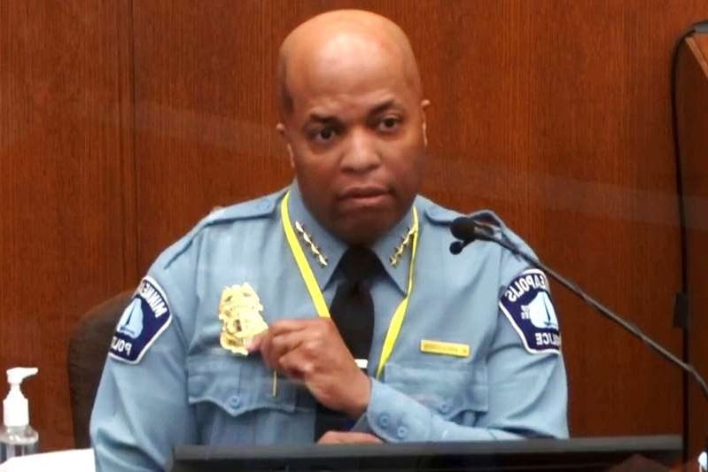 a man sitting at a table: Uncredited/AP/Shutterstock Minneapolis Police Chief Medaria Arradondo, testifying April 5, 2021, in the murder trial of Derek Chauvin