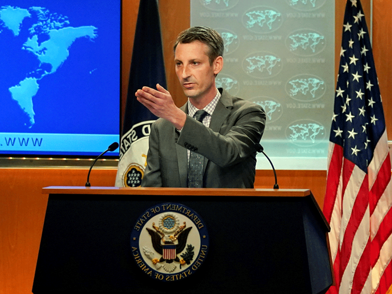 Ned Price sitting in front of a laptop: U.S. State Department spokesman Ned Price said the possibility of a joint boycott is