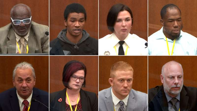 a group of people posing for the camera: chauvin trial week one witnesses