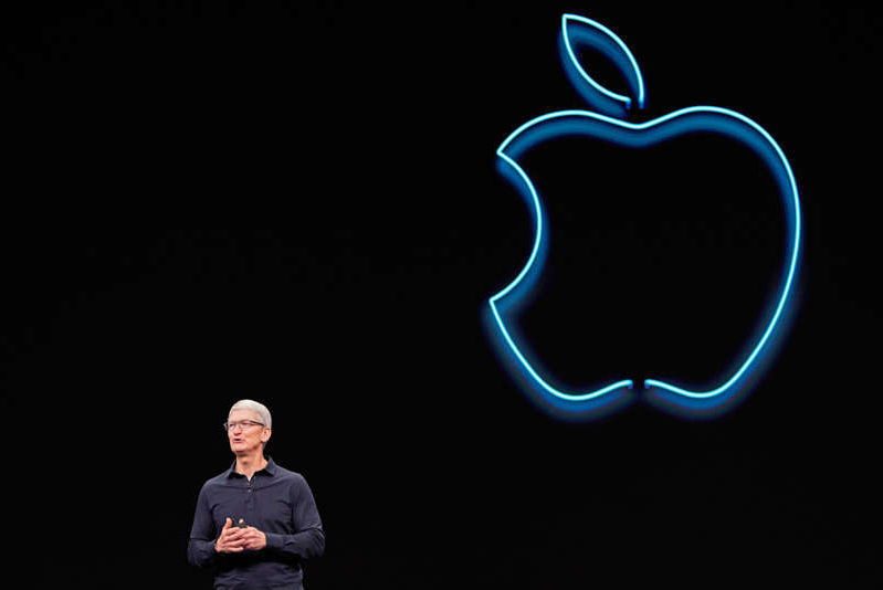 a close up of Tim Cook: Apple CEO Tim Cook speaks during Apple's annual Worldwide Developers Conference in San Jose, California, U.S. June 3, 2019. REUTERS/Mason Trinca