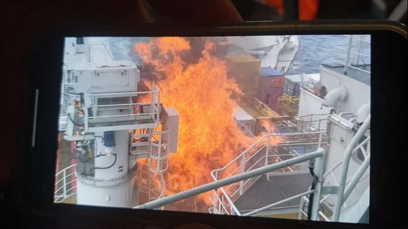 The fire is being investigated by the ship's owners and maritime authorities. (Supplied)