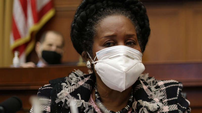 a close up of a man with a piece of cake: Rep. Sheila Jackson Lee (D-TX), the sponsor of HR 40, at a Judiciary Committee hearing in March 2021.
