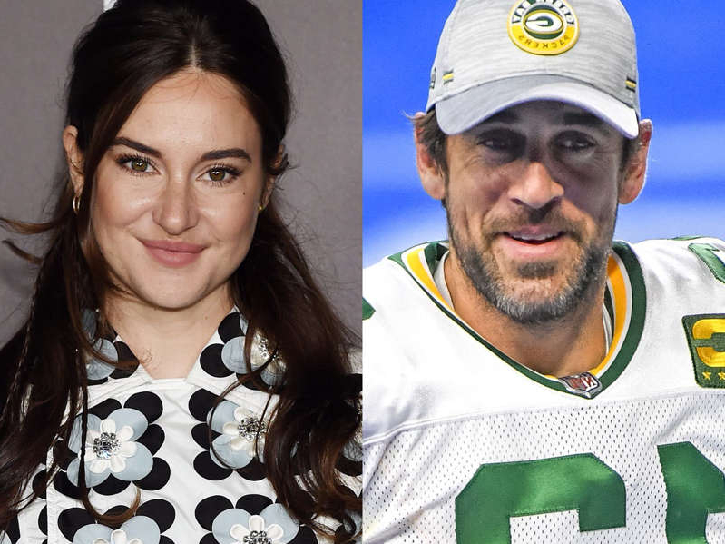 Aaron Rodgers, Shailene Woodley posing for the camera: Aaron Rodgers and Shailene Woodley revealed their engagement in 2021. Nic Antaya/Getty Images; Stefania D'Alessandro/Getty Images