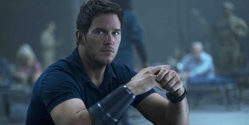 Chris Pratt holding his hand up: First look at Marvel's Guardians of the Galaxy actor Chris Pratt in new Amazon Studios movie The Tomorrow War, due for worldwide release on July 2.