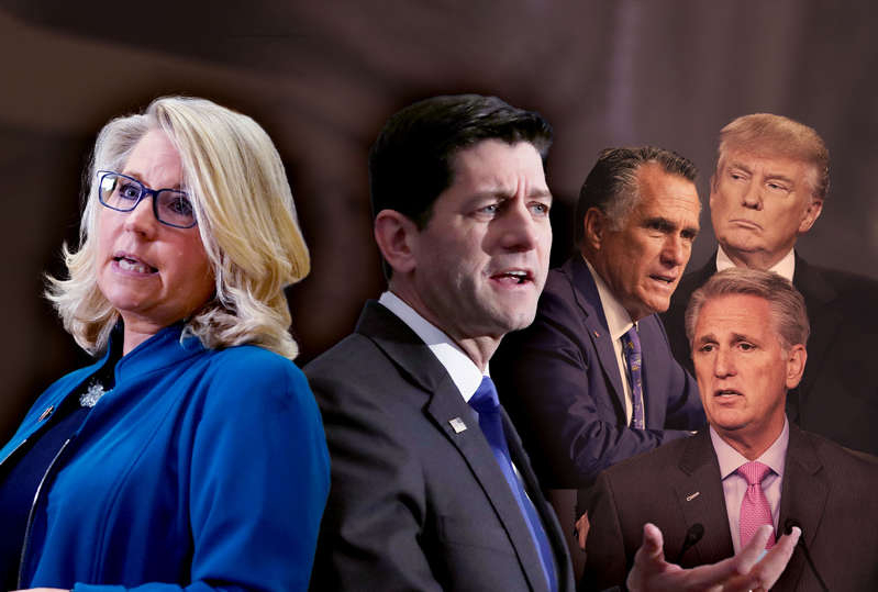Donald Trump, Kevin McCarthy, Mitt Romney, Paul Ryan, Liz Cheney standing next to a person wearing a suit and tie: Paul Ryan; Liz Cheney; Donald Trump; Mitt Romney; Kevin McCarthy