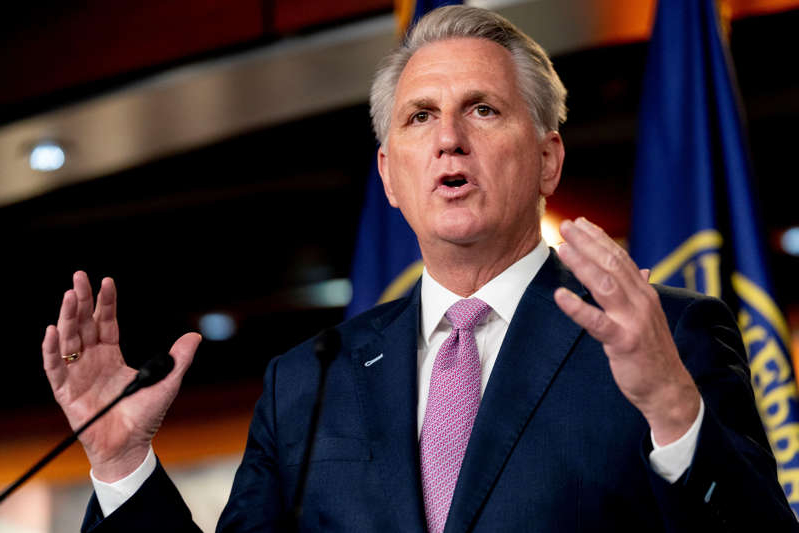 House Minority Leader Kevin McCarthy of Calif., speaks during his weekly press briefing on Capitol Hill, Thursday, April 22, 2021, in Washington. (AP Photo/Andrew Harnik)