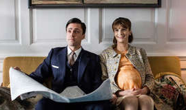Olly Rix in a suit and tie: Call The Midwife: Fiona and Matthew