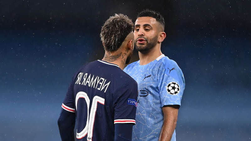 Riyad Mahrez wearing a uniform: Riyad Mahrez and Neymar