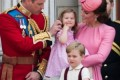 Kate steps out in pink with George and Charlotte for the Queen's birthday