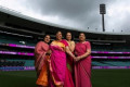 Pink saris breast cancer message at Sydney Test