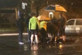 Heroic members of the public tend to injured man shielding him from rain and directing traffic after collision on Grand Canal in Dublin