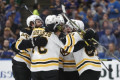 The Latest: Boston opens 4-0 lead on Blues in Game 3