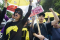 Hong Kong supporters rally outside China's consulate in Vancouver