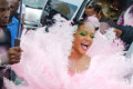Rihanna Wows in Giant Pink Feather Ensemble at Crop Over Carnival in Barbados