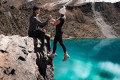 'You are promoting stupidity!' Instagram couple widely slammed for their 'dangerous' pose on the edge of a pool are blasted AGAIN over their latest risky stunt on a cliff