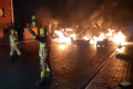 Firefighters attacked and bonfire used to block road in Halloween night of chaos