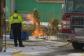 1 hospitalized after gas line fire at Calgary construction site