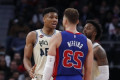 Blake Griffin steps over Giannis Antetokounmpo as tensions build in Detroit