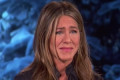 Jennifer Aniston breaks down in tears as she and Ellen DeGeneres watch video of a daughter pleading with them to help her unemployed father