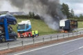 M74 traffic chaos as lorry catches fire on motorway