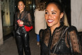 Alex Scott cuts a stylish figure in a SHEER top and leather trousers
